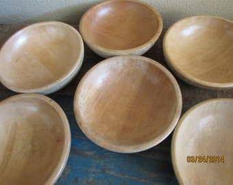 Wood small bowls set of six made in Japan