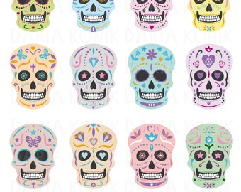 Calaveras Clip Art Set-Mexican skulls, sugar skulls, Día de Muertos, Day of the Dead, eps, png, jpeg, instant download