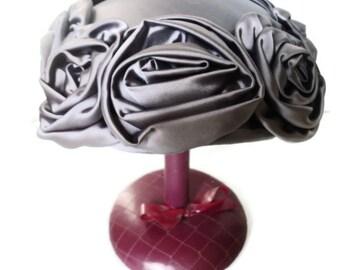 Vintage Hat Pillbox  Lavender Purple Satin Roses