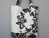 Cute Black White Tote Handbag, Black White Womens Shoulder Bag, Black Tote Bag, Black Handbag, White Handbag, Black Fabric Shoulder Bag