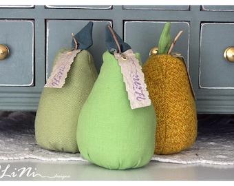 50% Sale - Bright green pear decoration / pincushion