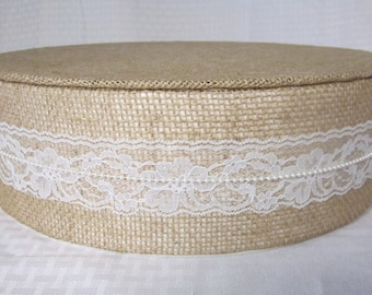 """Burlap, Lace & Pearls Wedding Cake Stand - Round - 10"""" to 24"""" wide x 4"""" tall"""