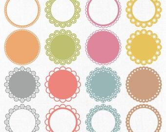 Vector centrino clipart digitale pizzo cerchio pastello for Uncinetto digitale