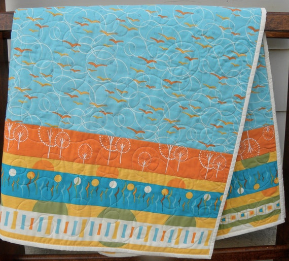 Baby quilt gender neutral andover fabrics flock by for Unisex baby fabric