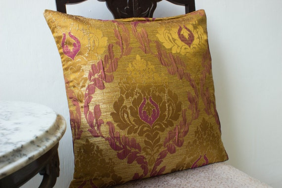 Gold Purple Silk Pillow cover 18x19Decorative throw by Fabricasia
