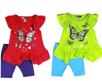 3882- 2 pc girls toddler BUTTERFLY/HEART print