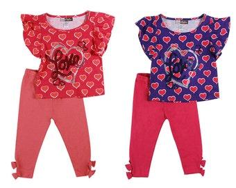 3847- 2 pc girls toddler HEART  printed set