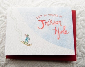 Jackson Hole Ski Card, 4.25x5.5, Watercolor, Red Envelope, Blank Inside