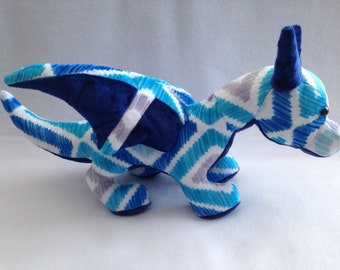 Large Blue Diamond Minky Dragon Plush