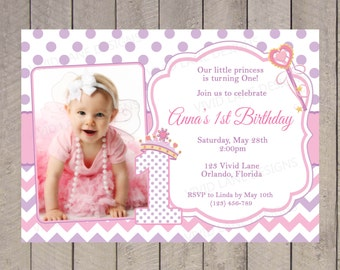 Princess Birthday Invitation, Girl Birthday, Purple and Pink, With Photo, Chevron, Polka Dots 1st, 2nd, 3rd, 4th, 5th, 6th, First - 5011