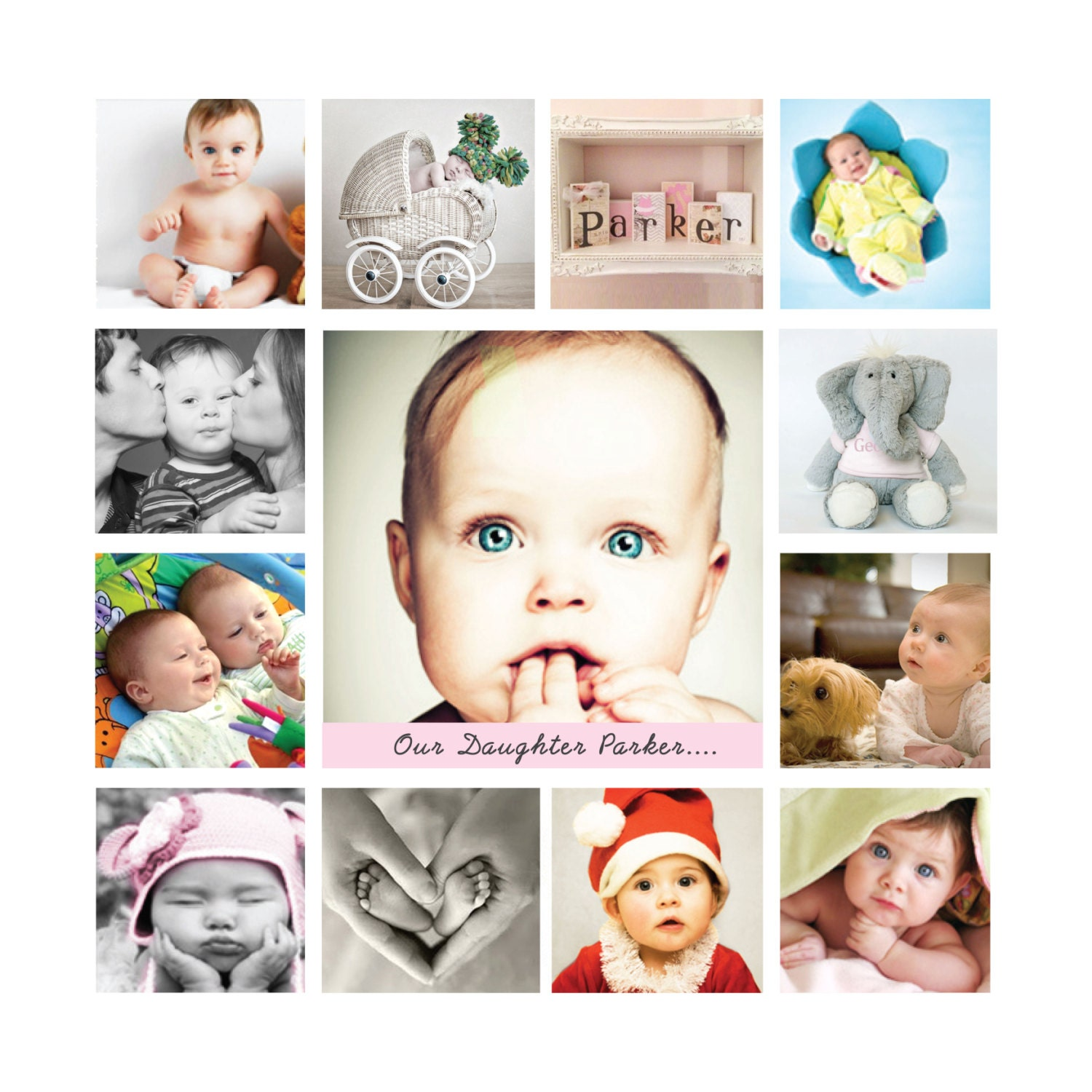 Baby Gift, Framed, Birthday Photo Collage, 12 X 12 Inches