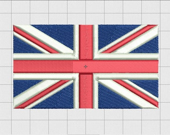 Union Jack United Kingdom Flag Embroidery Design in 2x2 3x3 4x4 5x5 6x6 and 7x7 Sizes
