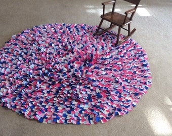 """Large Round Rag Rug, 60"""" Circle, Cotton Hand Sewn Area Rugs, Baby Room, Newborn Photo Props, Chic Shabby Scrap Rug, Colorful Confetti Rugs"""