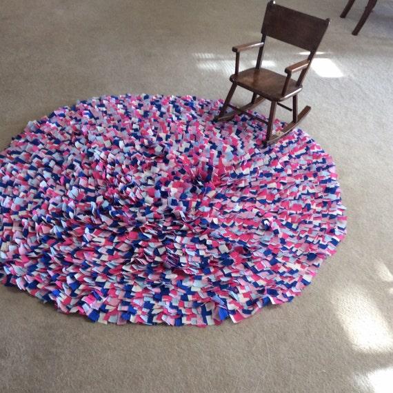 Rag Rug Large: Large Round Rag Rug 60 Circle Cotton Hand Sewn Area