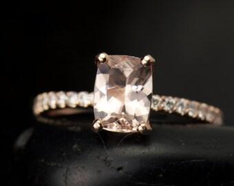 Elongated Cushion Cut Morganite & Diamond Engagement Ring in 14k Rose Gold, 8x6mm 1.50ct Morganite, 0.20ctw Diamonds, 1.4mm Band, Nina M