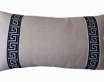 Blue Greek Key Embroidered Oatmeal Decorative Pillow Cover - Lumbar Pillow - Throw Pillow - Linen - Greek Key End Bands One Side