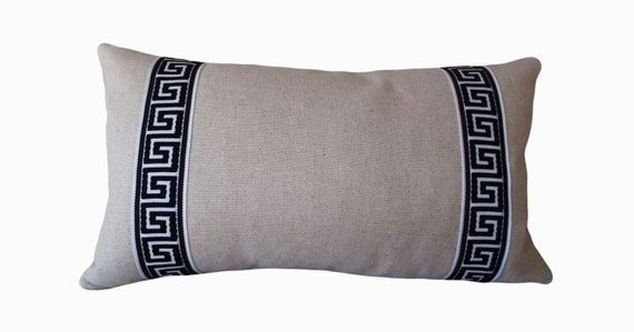Blue Greek Key Embroidered Oatmeal Decorative Pillow Cover