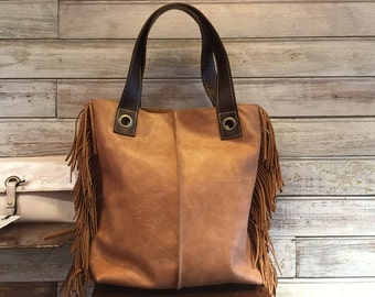 Distressed leather tote, brown tote bag, fringed tote purse, leather bag