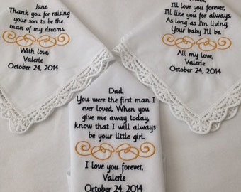 mother of bride or groom personalized handkerchief hankie bride