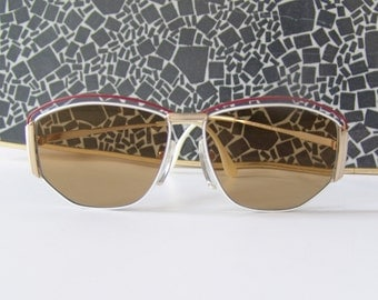 Vintage oversize eyeglasses 80s white red gold old school glasses