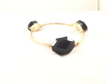 The Stone Bauble || Black Hexagon Crystal Bauble Bracelet