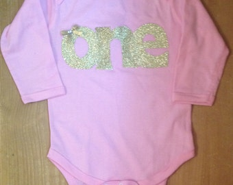 Pink and gold birthday baby bodysuit or shirt