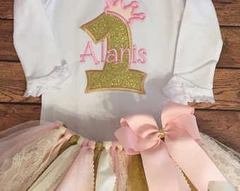 Pale Pink, Ivory, and Gold Birthday Princess Tutu Outfit