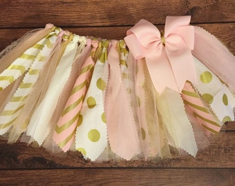 Light Pink, Ivory, and Gold Chevron and Polka Dots Scrap Fabric Tutu