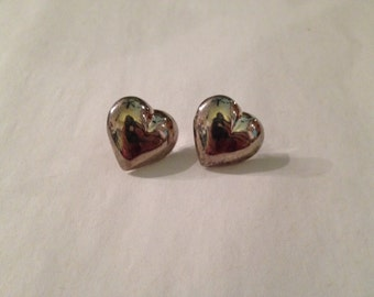 Vintage Heart Shaped Sterling Silver Post Earrings