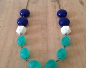 Chunky Vintage Lucite Necklace in Navy, Cream, and Green