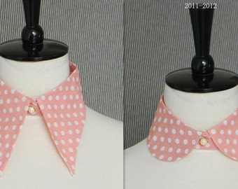 Women's Vintage Peter Pan Fake Detachable collar Necklace Choker Tie Pink polka dot free shipping