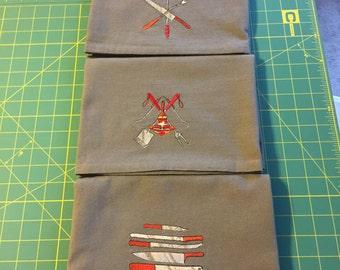 Machine Embroidered Flour Sack Dish Towel Set (3 Towels)
