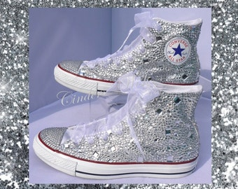 Wedding Converse -  Premium Converse - silver  - All over Sparkling Converse - Bridal footwear - Wedding shoes -Prom shoes -