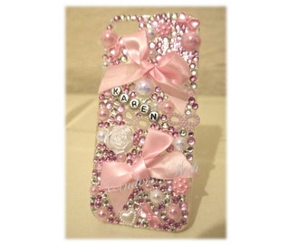 Pink phone case / pearls phone case / bows phone case / name phone case / personalised phone case / pretty phone case