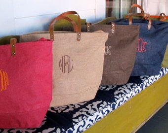 Large Jute Tote with Monogram- Zippered Top