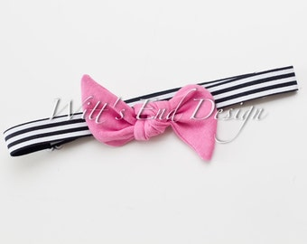 READY to SHIP Adjustable Top Knot Elastic Headband Collection-Magenta on Black and White Striped Elastic