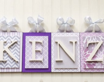 Nursery letters,Purple and gray Nursery, personalized wooden letters, Lavender Nursery Letters,Purple Wall Letters,custom nursery letters,