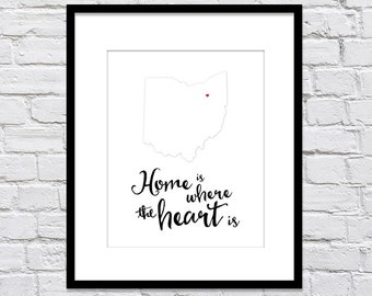 Home is Where the Heart Is with Heart over City/State - White on White Background / Housewarming/ Gift for Bride/Gift for Groom/ New Home