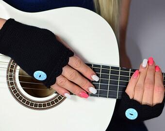 Short, black fingerless gloves with button, 100% merino wool, Knit Arm Warmers,  Black Handwarmers