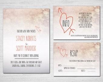 Printable Wedding Invitation - Hearts Coral