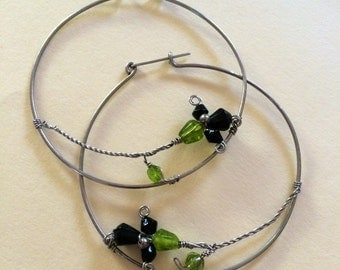 Large Stainless Hoops With Black & Green Glass Beaded Flowers - 2.5 inch