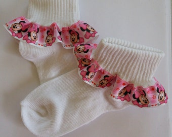 Baby Minnie Mouse Pink Ruffled Socks