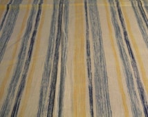 Furnishing cotton, excellent condition, open weave, blue and yellow stripes 208cm x112cm circa 1970s -1980s
