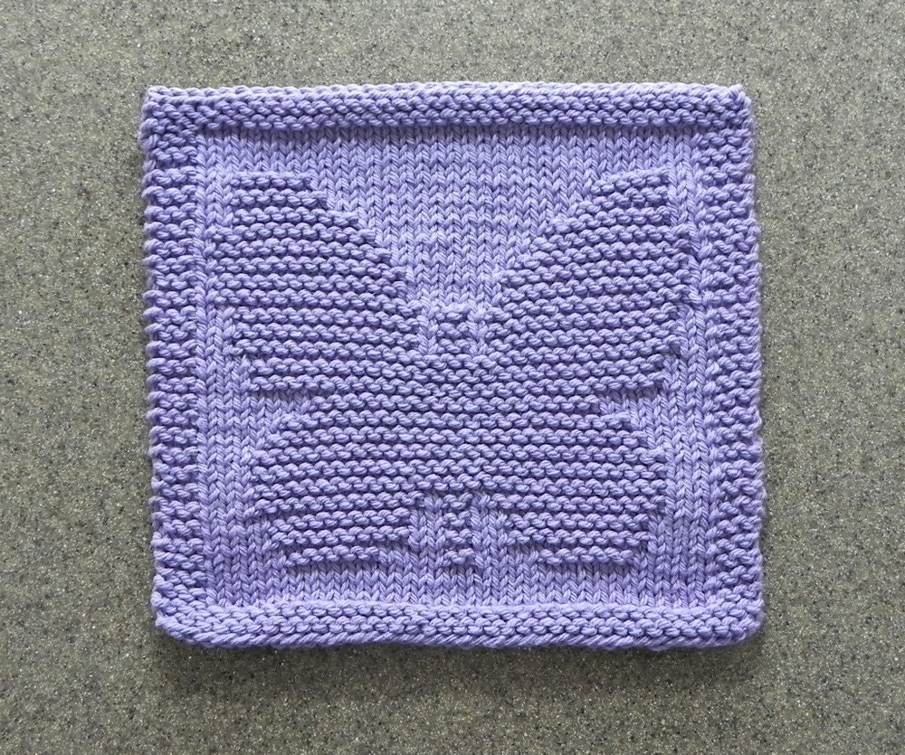 BUTTERFLY Knit Dishcloth Wash Cloth Lavender 100% Cotton