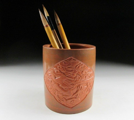 Earthenware calligraphy brush holder