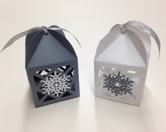 Snowflake Favors Snowflake Favor Boxes Winter Wedding Favor Winter Bridal Shower Winter Baby Shower Snowflake Wedding Favors Lantern Favors