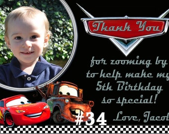 Disney Cars Thank You Card / You Print Digital File -  Matches  Disney Cars Birthday Invitation