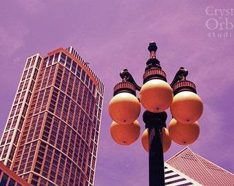 Chicago Art, Modern Art, Chicago Photography, Gift for Her, Millennium Park, Bedroom Wall Art, Amethyst, Pink, Purple