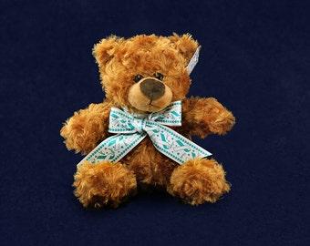 Teal & White Ribbon Teddy Bears (10 Teddy Bears) (TBEAR-23)