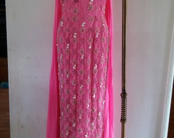 Reserved in Layaway Vintage Early 1960s/60s Pink spiderweb lace dress with pink rhinestones/ sequins/ glass beads/ beaded